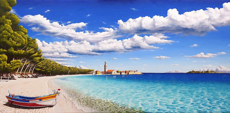 Paesaggio con mare e barca